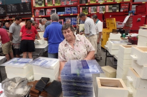 Final Bunnings box building day - Ros organising the stores
